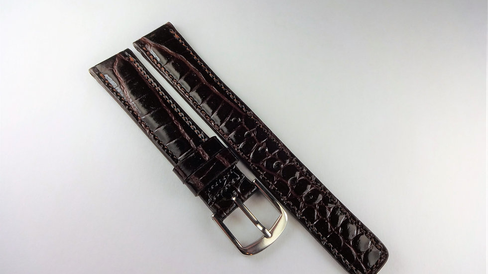 Seiko 15mm Brown Genuine Calfskin Crocodile Grain