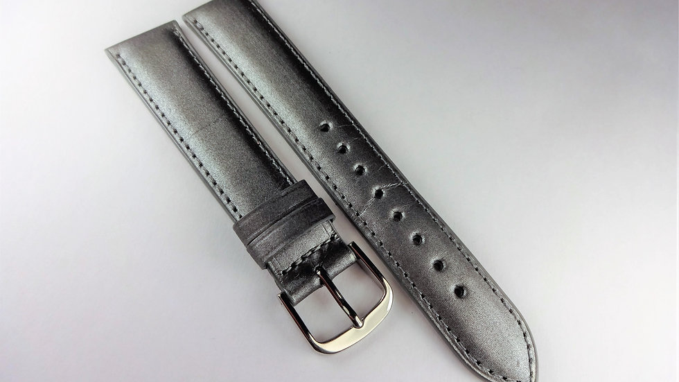 Replacement  18mm Gray/Silver Genuine Calfskin Satin Top