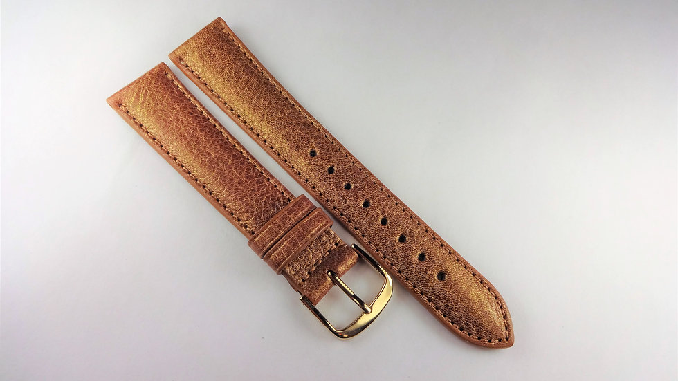 Replacement 18mm Gold Brown Genuine Calfskin