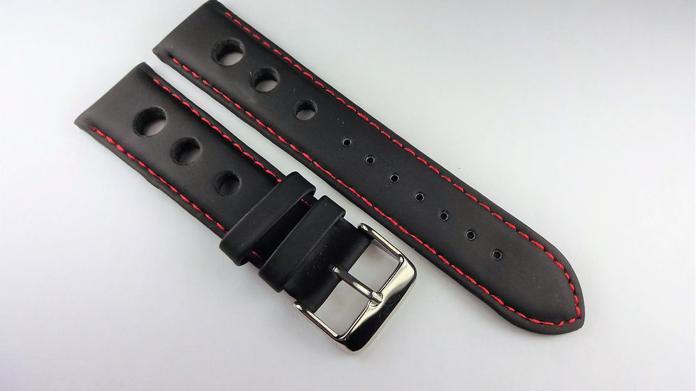 Replacement 22mm Black Synthetic Soft Leather Red Stitching