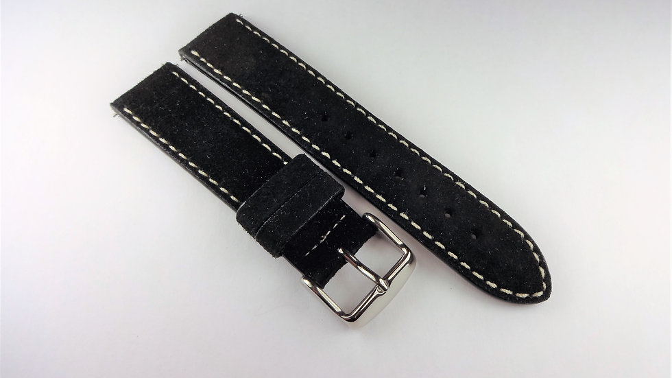 Replacement 18mm Black Genuine Suede Leather