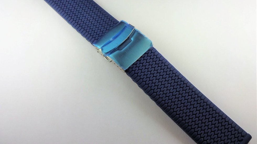 Replacement 22mm Blue Silicone With Deployment