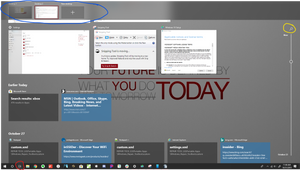 Task View with Shortcut (Red), Search (Yellow), and Virtual Desktops (Blue)