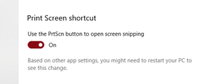 Print Screen Shortcut Option for Snipping Tool