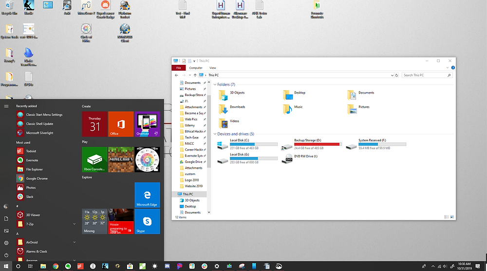 Windows 10 Start Menu and File Explorer