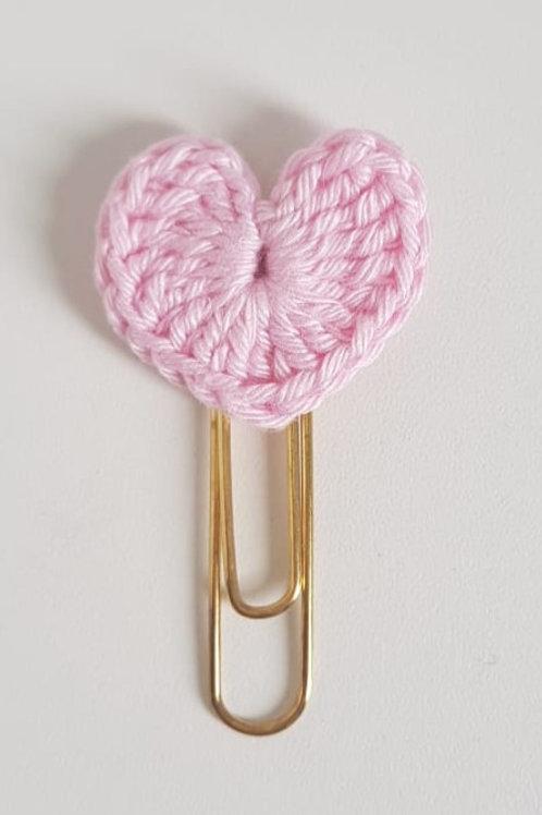 Clips coração crochê