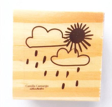 Carimbo madeira nuvem