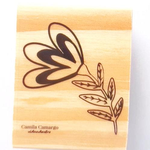 Carimbo madeira flor