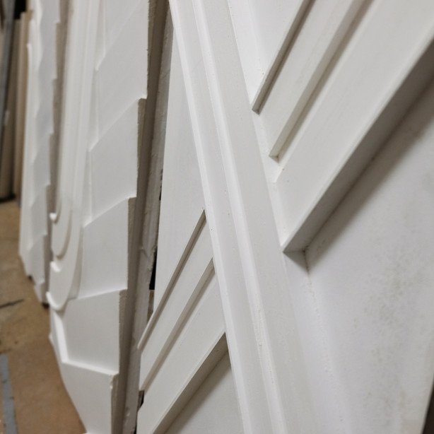 Pre-install of Art Deco Cast Plaster frieze for Walker Tower in NYC