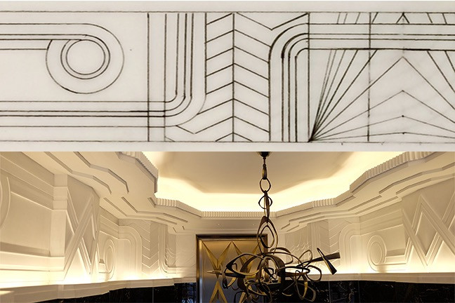Drawings of Art Deco Cast Plaster frieze for Walker Tower in NYC