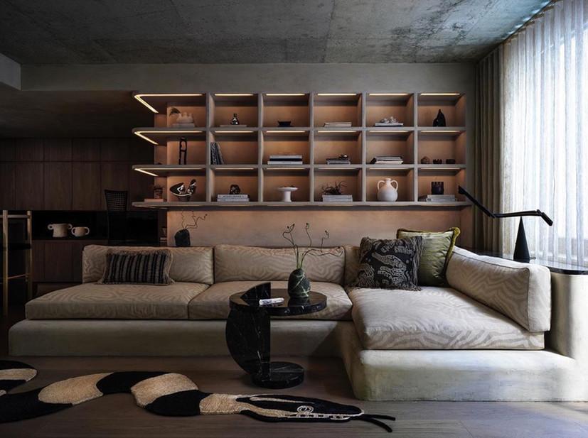Art Deco Luxe Plaster Finishes on built in shelves for Alex P White Interior Design