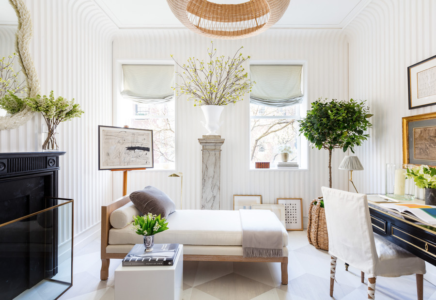 Fluted Plaster Walls and Painted Floors For a Kips Bay Show House room by Sarah Bartholomew