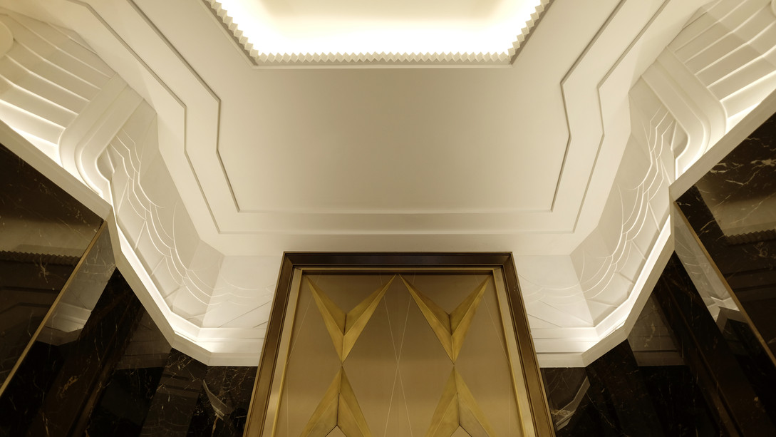 Detail of Art Deco Cast Plaster frieze for Walker Tower in NYC