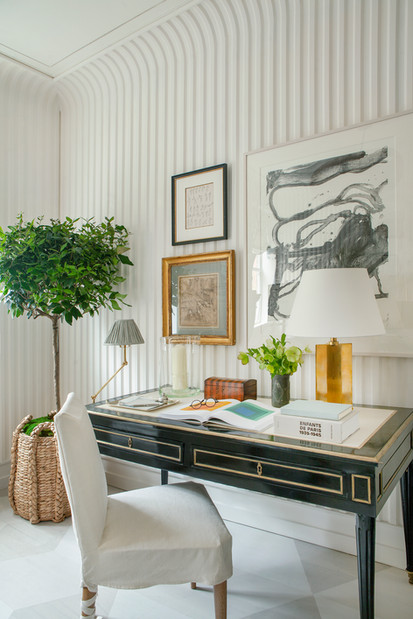 Fluted Plaster Walls and For a Kips Bay Show House room by Sarah Bartholomew