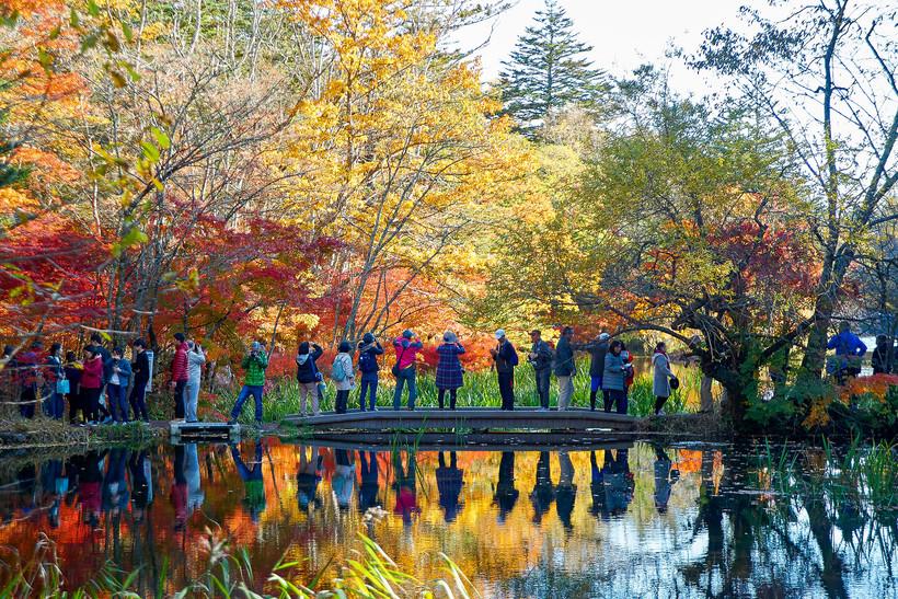 visitors at Kumobaike Pond