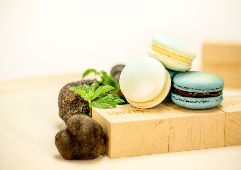 product mood shot of truffle macarons for an exhibition
