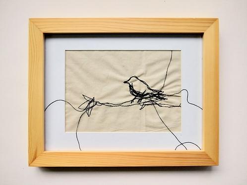 Passarinho (com moldura) - Artista Plástica Ana Beatriz Artigas