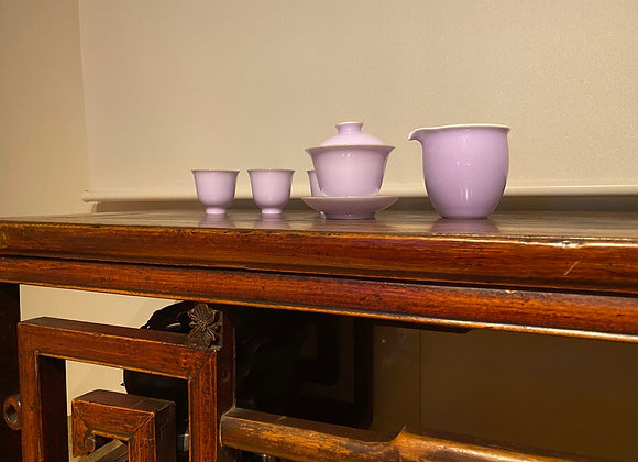 蓋碗セット《紫藤花》蓋碗1、茶海1、茶杯6