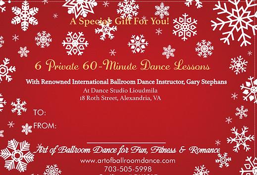 Romantic Christmas gift certificate for Alexandria ballroom dance lessons