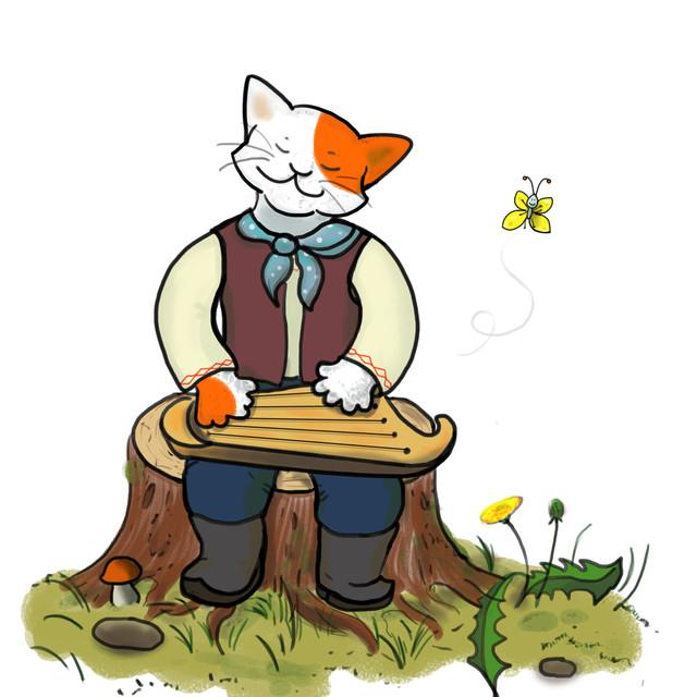 Cat playing kantele