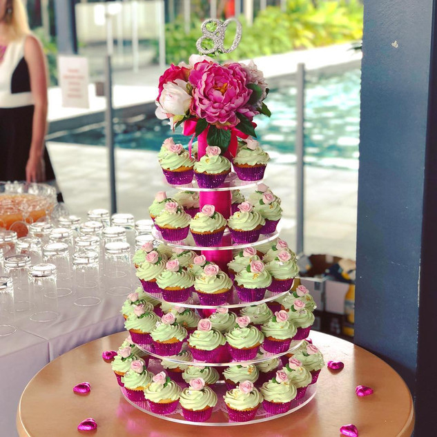 80th Birthday Cupcake tower in a green and pink theme with pink roses