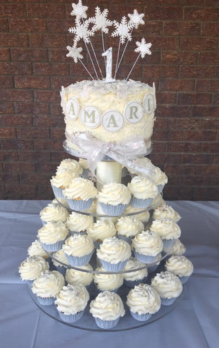 1st Birthday snowflake themed cupcake tower with small cake