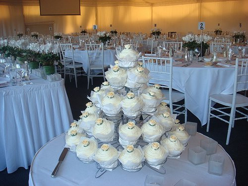 wedding cupcake tower with cream roses