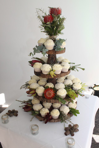 Wedding Cupcakes with Native Flowers
