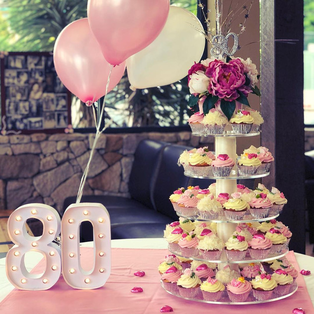 80th Birthday Cupcake tower in a pink and white theme