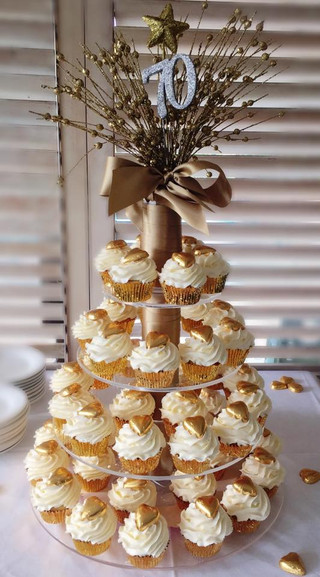 70th Birthday Cupcakes with Gold Hearts