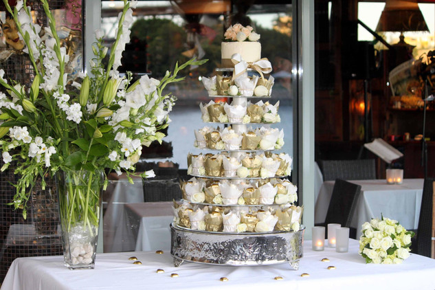 White and Gold Wedding Cupcake Tower