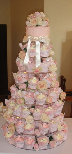 wedding cupcake tower with gorgeous fresh pink roses