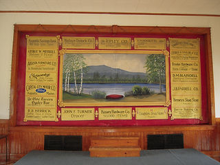 Sidney, ME, Hist Soc (former Grange Hall) advertising curtain by United Sign Company