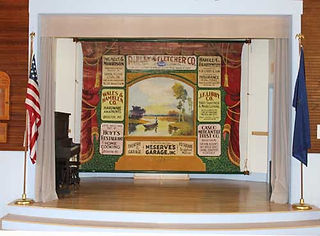 Sweden, ME, Town Hall, Advertising Grand Drape by Hubert Scenic Co.