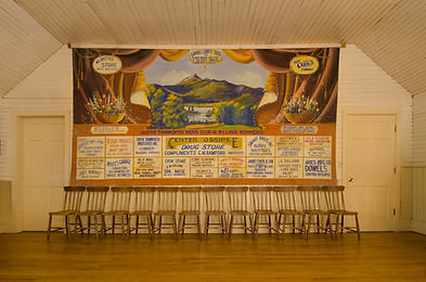 Union Hall, South Tamworth, NH, Advertising Grand Drape by Marion Fracher