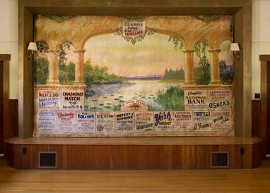 Community Hall, West Alton, NH, Advertising Grand Drape by Louis Galanis