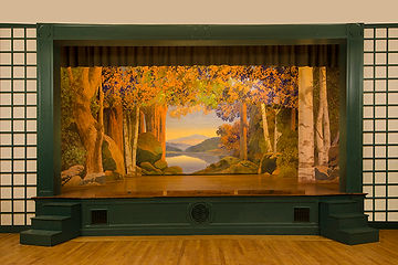 Plainfield, NH, Town Hall backdrop by Maxfield Parrish