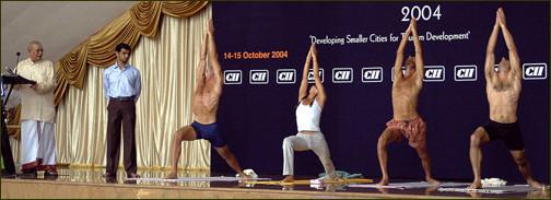 David in a Yoga Demo with Guruji & Sharath, Mysore 2004
