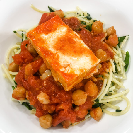 Feta with Spicy Tomato and Chickpea Sauce over Spinach Spaghetti
