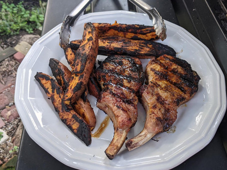 Grilled Mirch Masala Pork and Harissa Sweet Potato Wedges
