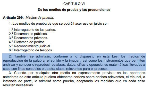 Artículo 299.2 de la Ley de Enjuiciamiento Civil