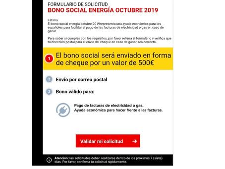 Nuevo intento de fraude con falsos correos de Bono Social Energía Octubre 2019.