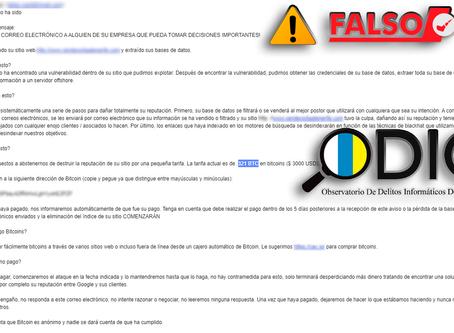 🚨¡ALERTA! EXTORSIONAN A EMPRESAS A TRAVÉS DE CORREOS ELECTRÓNICOS