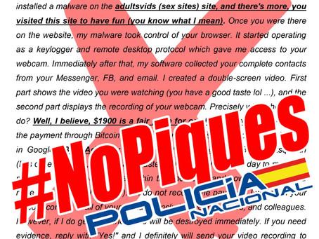 Nueva campaña masiva de intentos de ciberestafa mediante #sextorsión