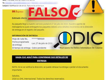 Detectada una campaña de phishing que suplanta laempresa de paquetería DHL