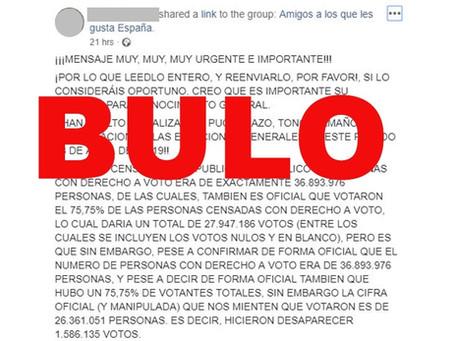 """La falsa alerta de pucherazo sobre la """"desaparición"""" de un millón y medio de votos el 28A: la ..."""