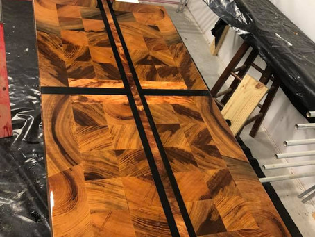 Reclaimed Cypress Block and Black Resin Table