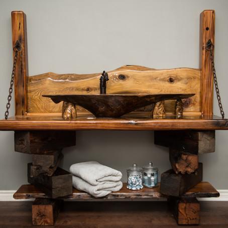 Sinker Cypress Burl Sink with Reclaimed Wood Base