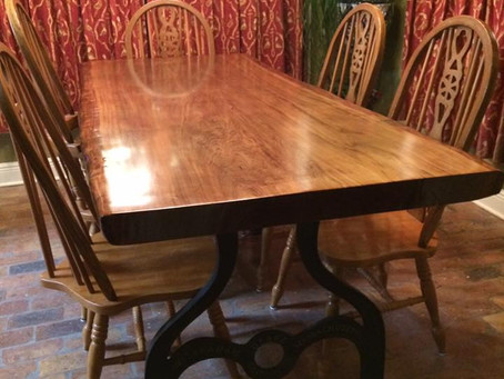 Sinker Cypress Table with Cast Iron Legs