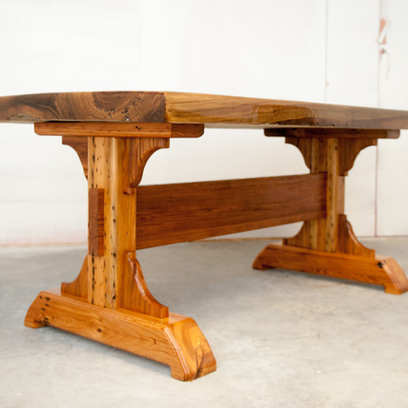 Sinker Cypress Dining Table with Trestle Legs